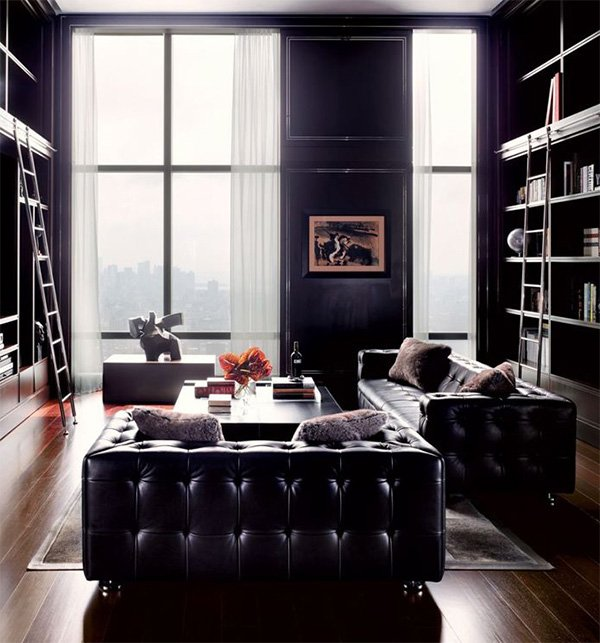 chic look with masculine living room design