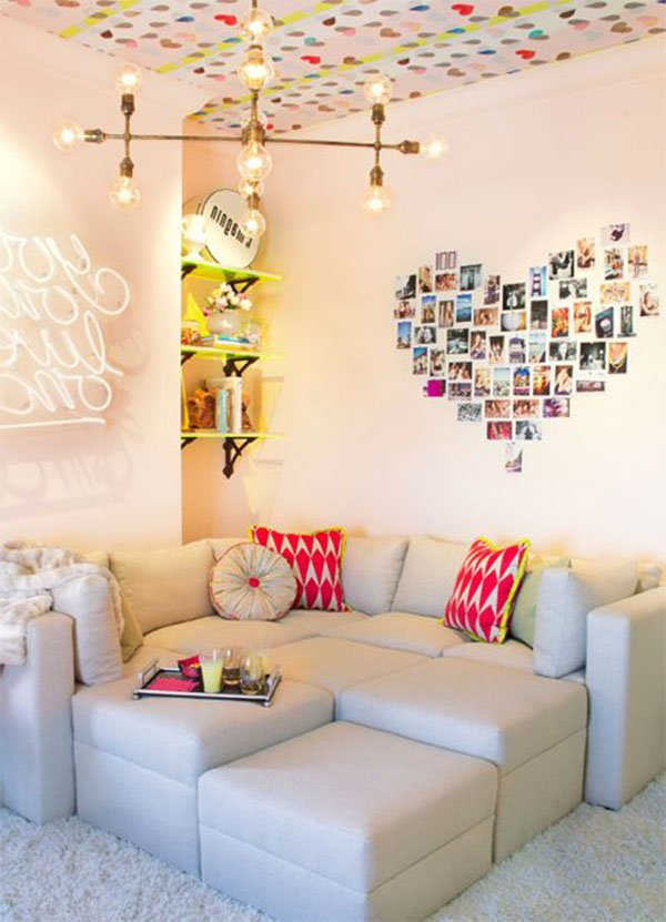 colorful cute living room design for couples