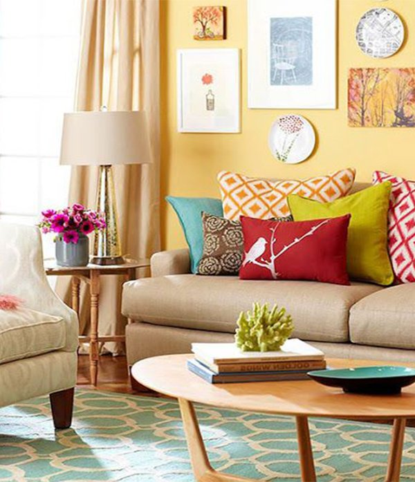 Gallery For Colorful Pillows In Living Room