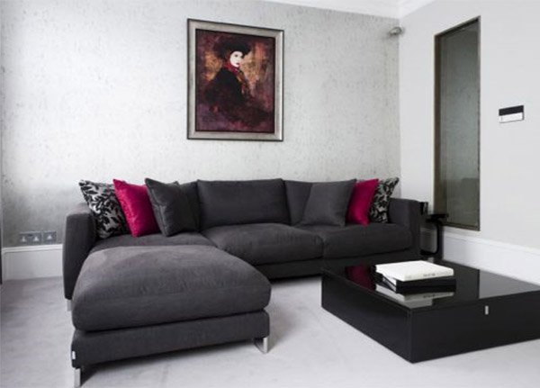 White living room with dark furniture modern house for Dark walls white furniture
