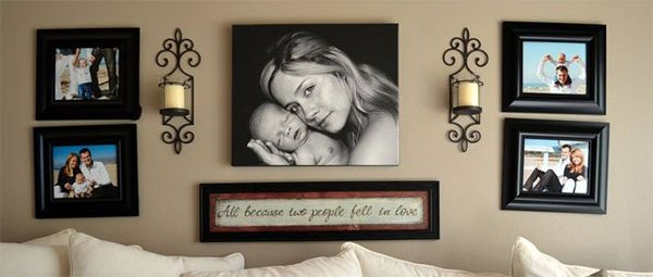 family photos on your living room wall