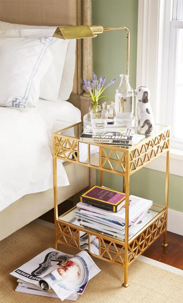 golden nightstand design