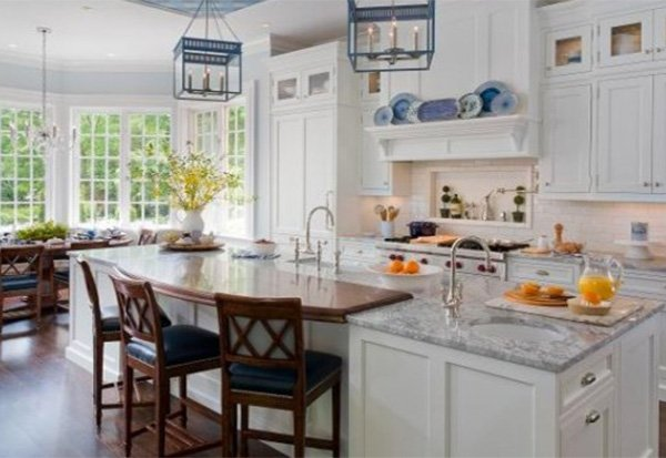 large traditional white kitchen design