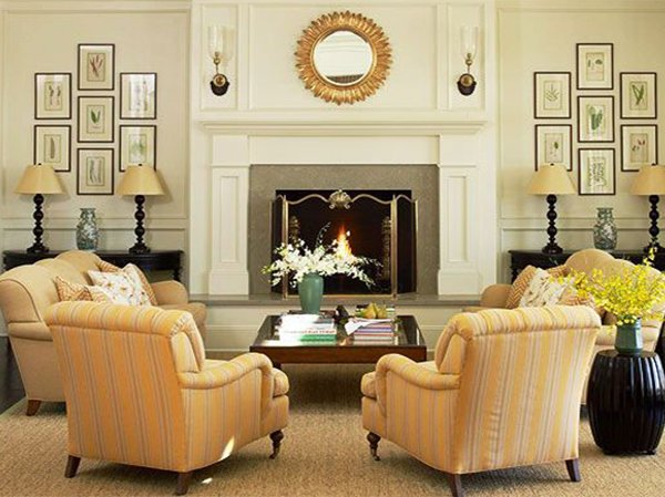 living room decor with antique fireplace
