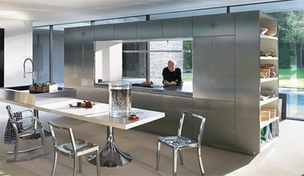 metalic contemporary large kitchen design