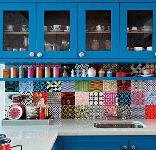 multicolored kitchen tiles