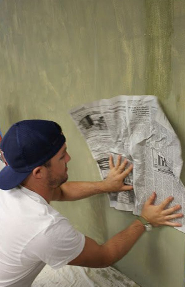 painting with newspaper