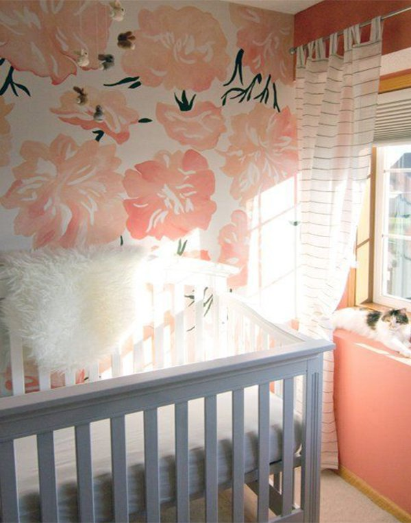 pink flowered wallpaper idea for nursery room