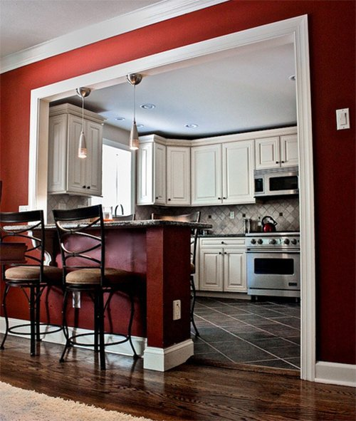 How to get a caf like kitchen for White cabinets red walls kitchen