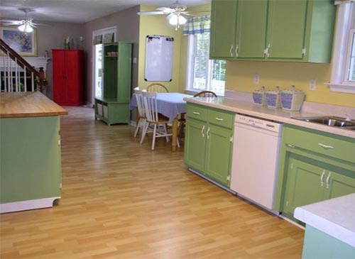 repainting kitchen cabinets to green