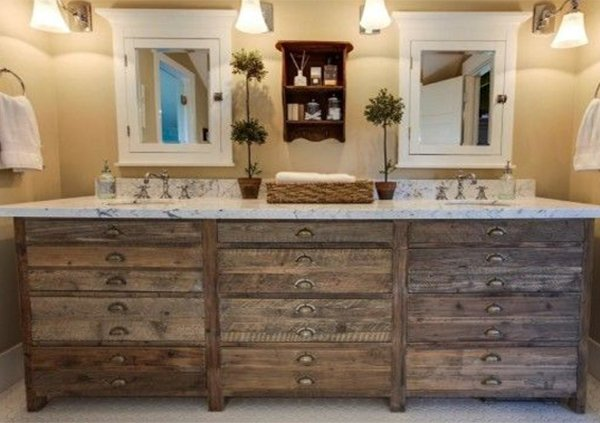 rustic furniture idea for bathroom design