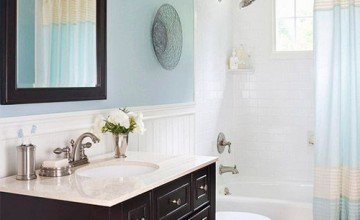soft colored small bathroom design
