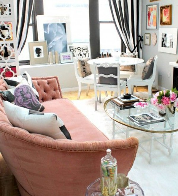 soft pink sofa for living room
