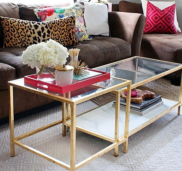stylish glass coffee table design photo