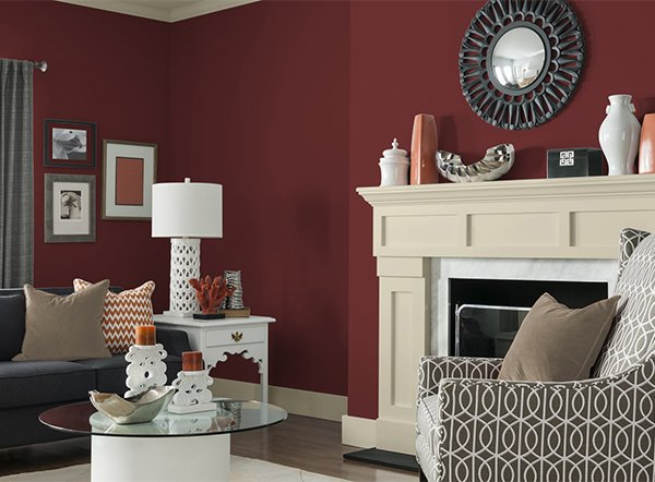 well decorated claret red living room design