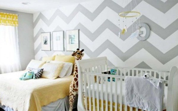 white gray patterned nursery wall