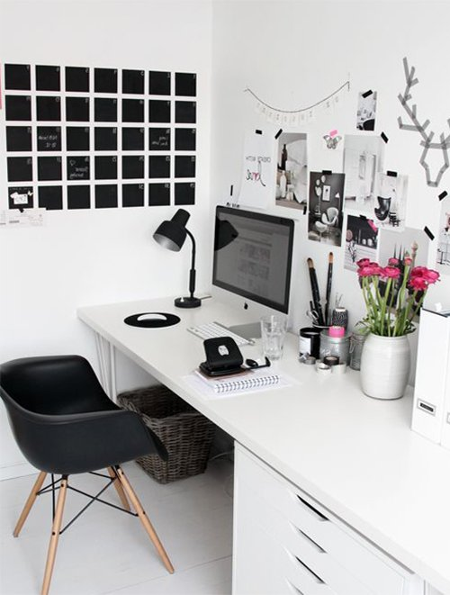 white minimalist working space design