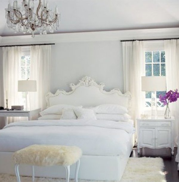 White Romantic Cosy Bedroom Design