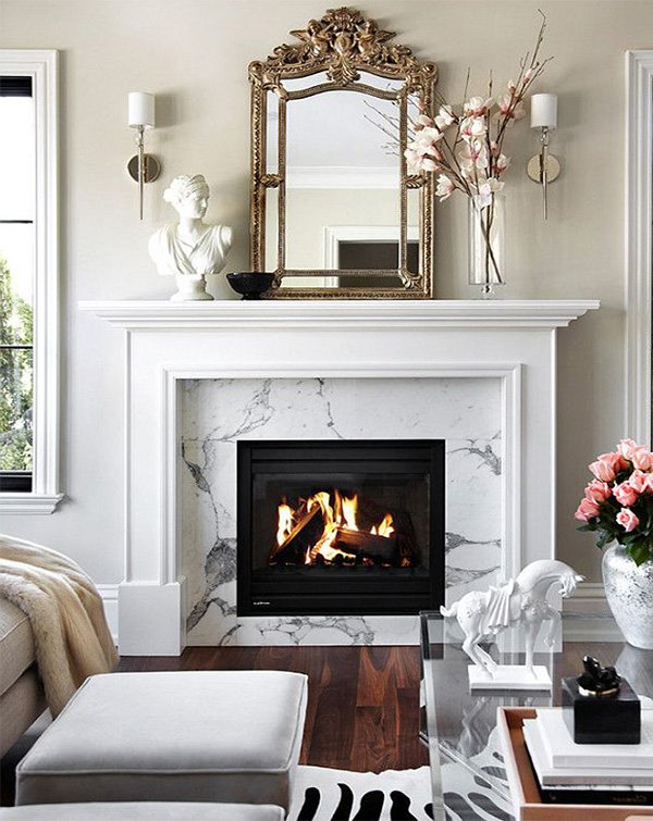 white stylish living room with chic fireplace