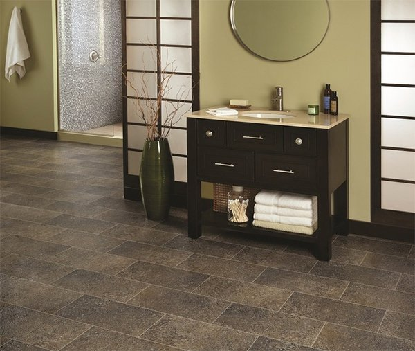Linoleum Flooring idea for bathroom design. Grip Bathroom Flooring
