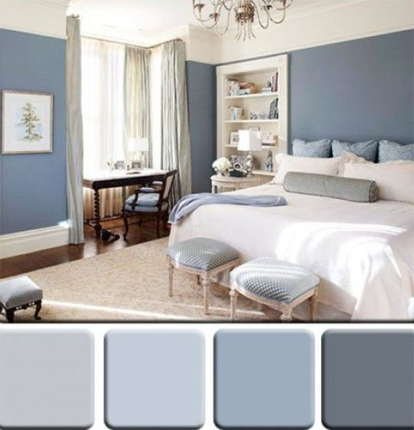 Monochromatic bedroom color combine design
