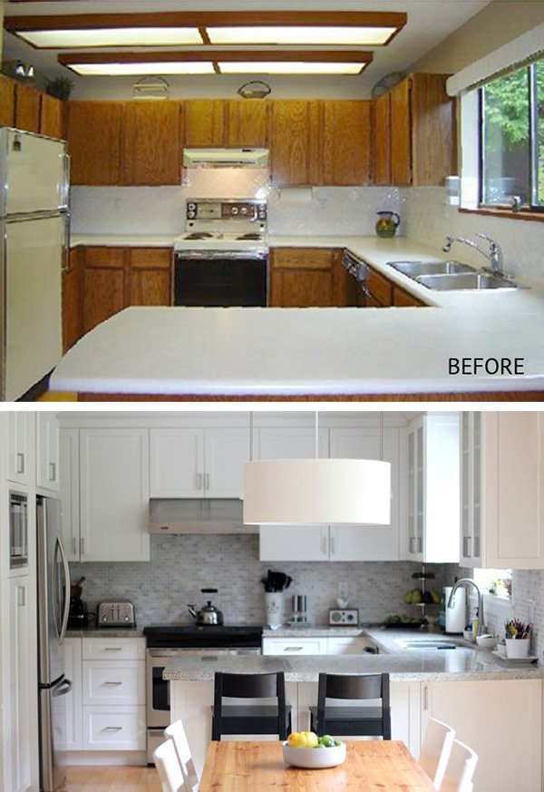 before after example for the kitchen renovation design