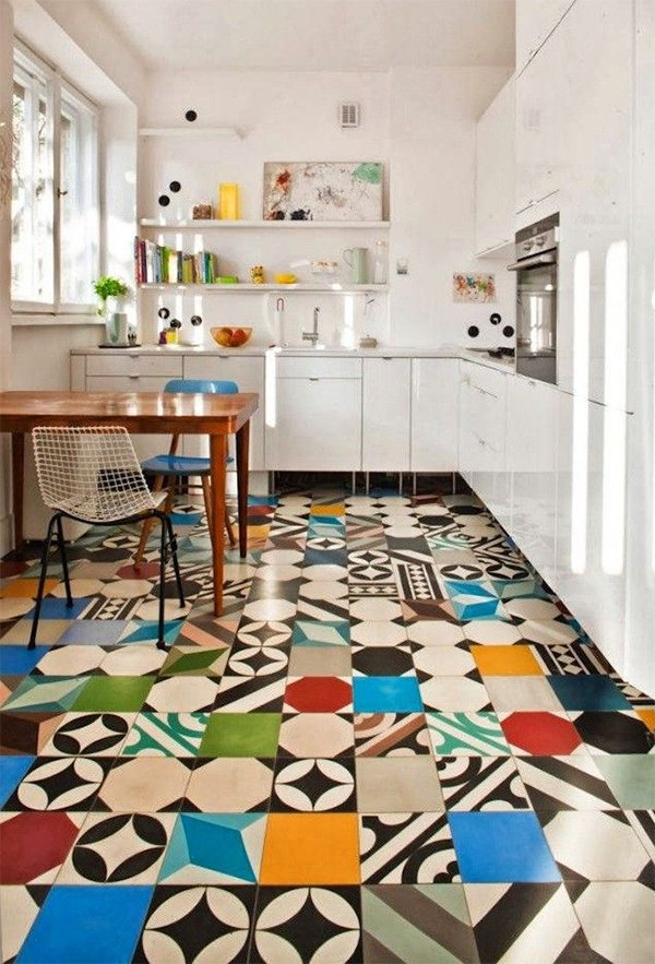 colorful kitchen flooring