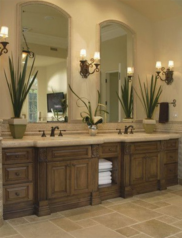 double wooden sink cabinet