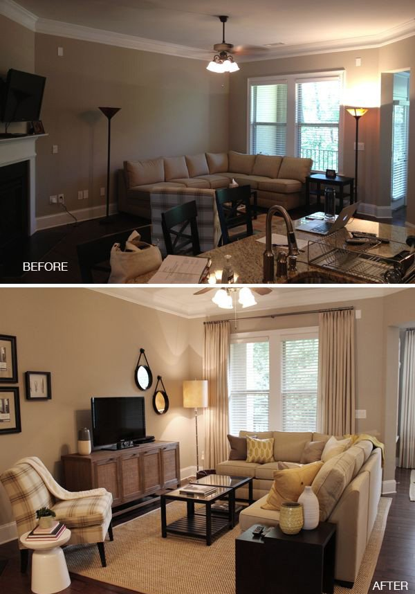living room before after