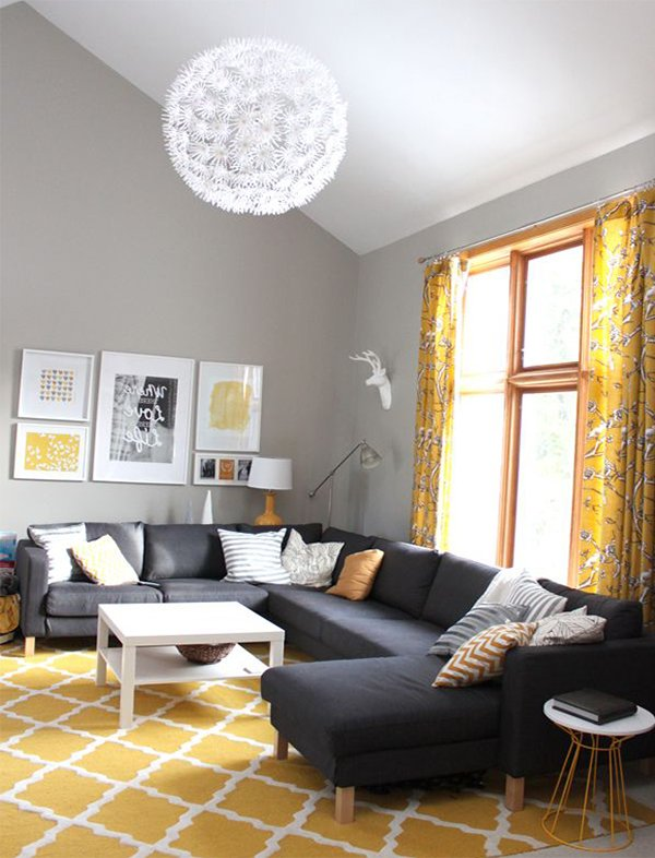 living room design with yellow carpet