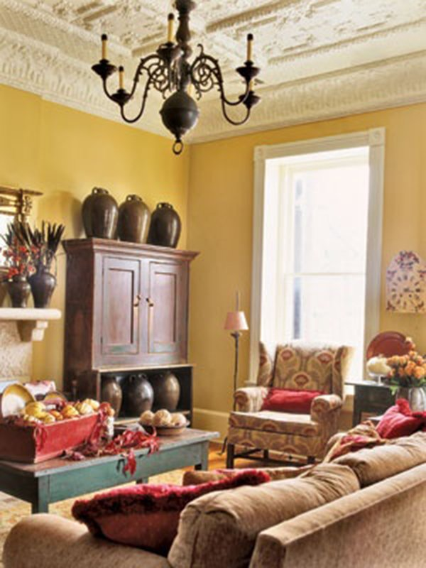 Yellow color for your interior design for Living room yellow walls