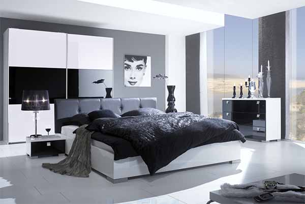 black white modern bedroom design