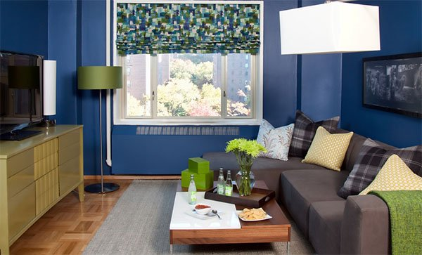 blue small living room design