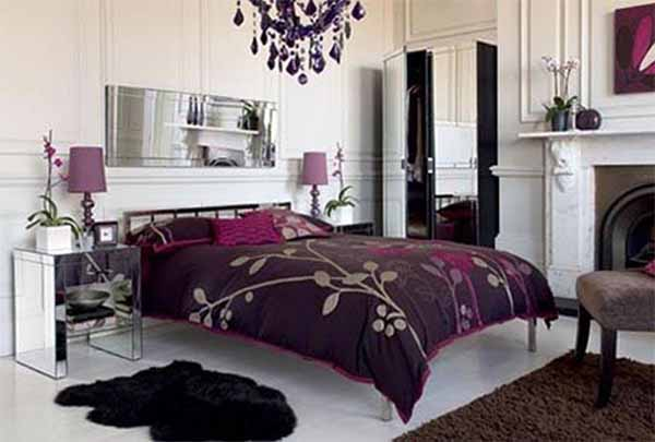 purple white bedroom design