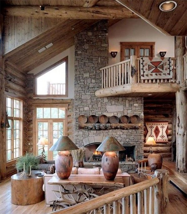 rustic summer house living room
