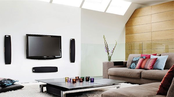 small living room designed with wall mounted TV