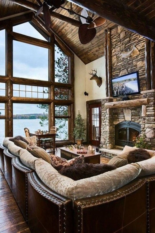 summer house living room desined rustic style