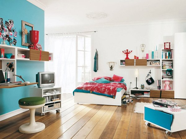 white and blue teen's bedroom
