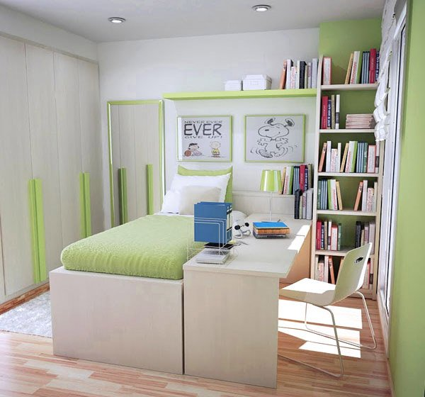 white and green colored small room design - Small Room Design