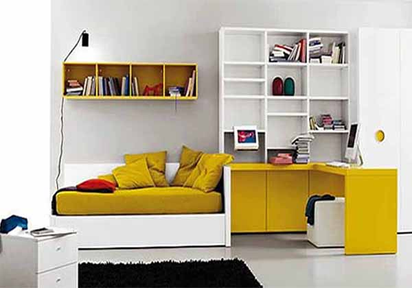 white and yellow teen bedroom