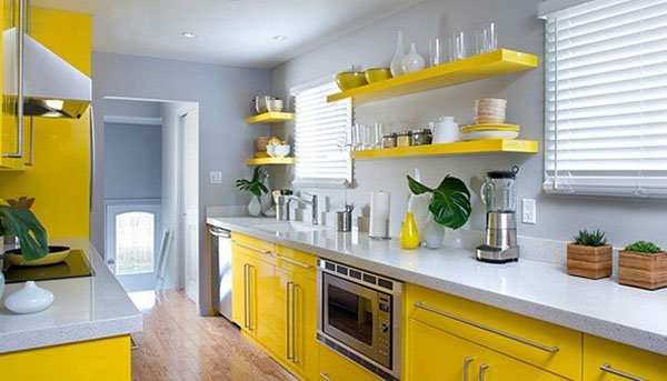 charming yellow white modern kitchen