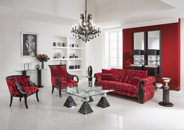 chic and stylish white wall and red seats living room