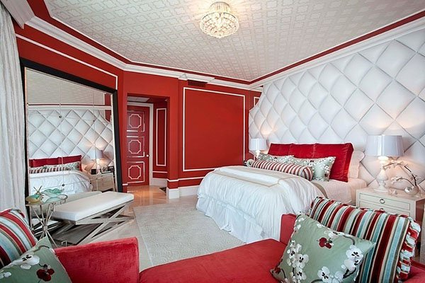 chic red and white bedroom