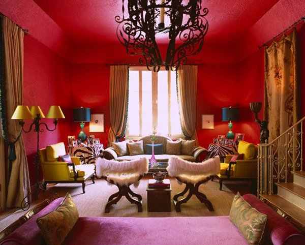 colorful red living room