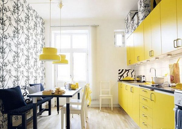 cute yellow kitchen design