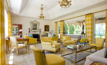 large living room with yellow tones
