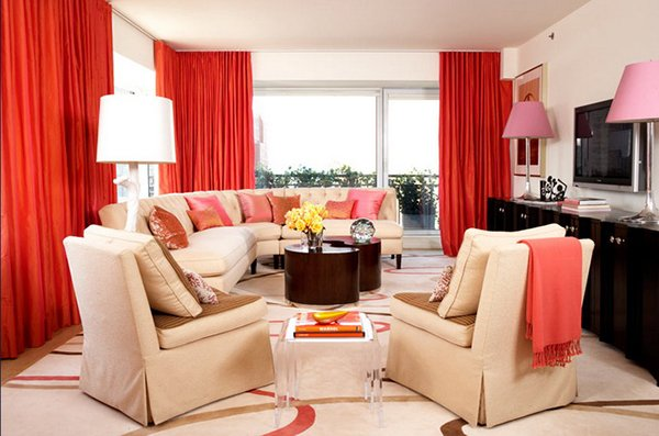living room red curtains