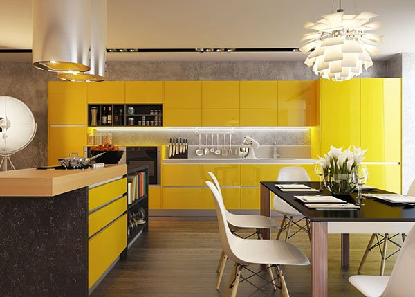 modern kitchen with yellow stylish cabinets