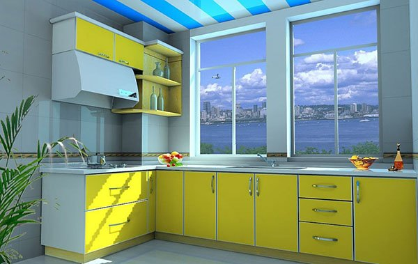 modern kitchen yellow kitchen cabinets