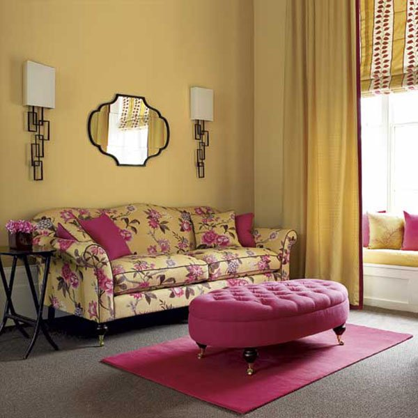 pink and yellow colored cute living room